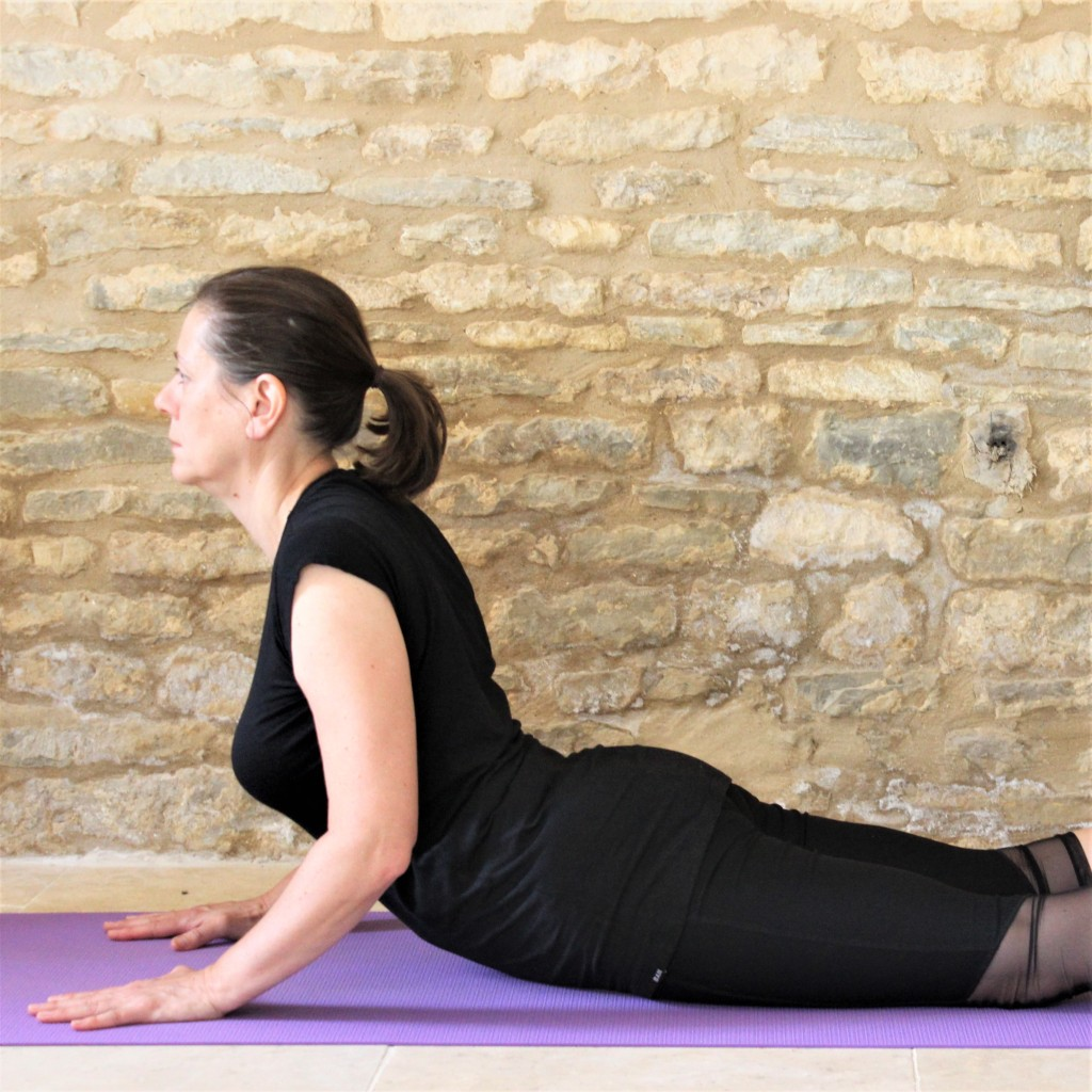 Yoga Teacher Deborah King demonstrating Bhujangasana