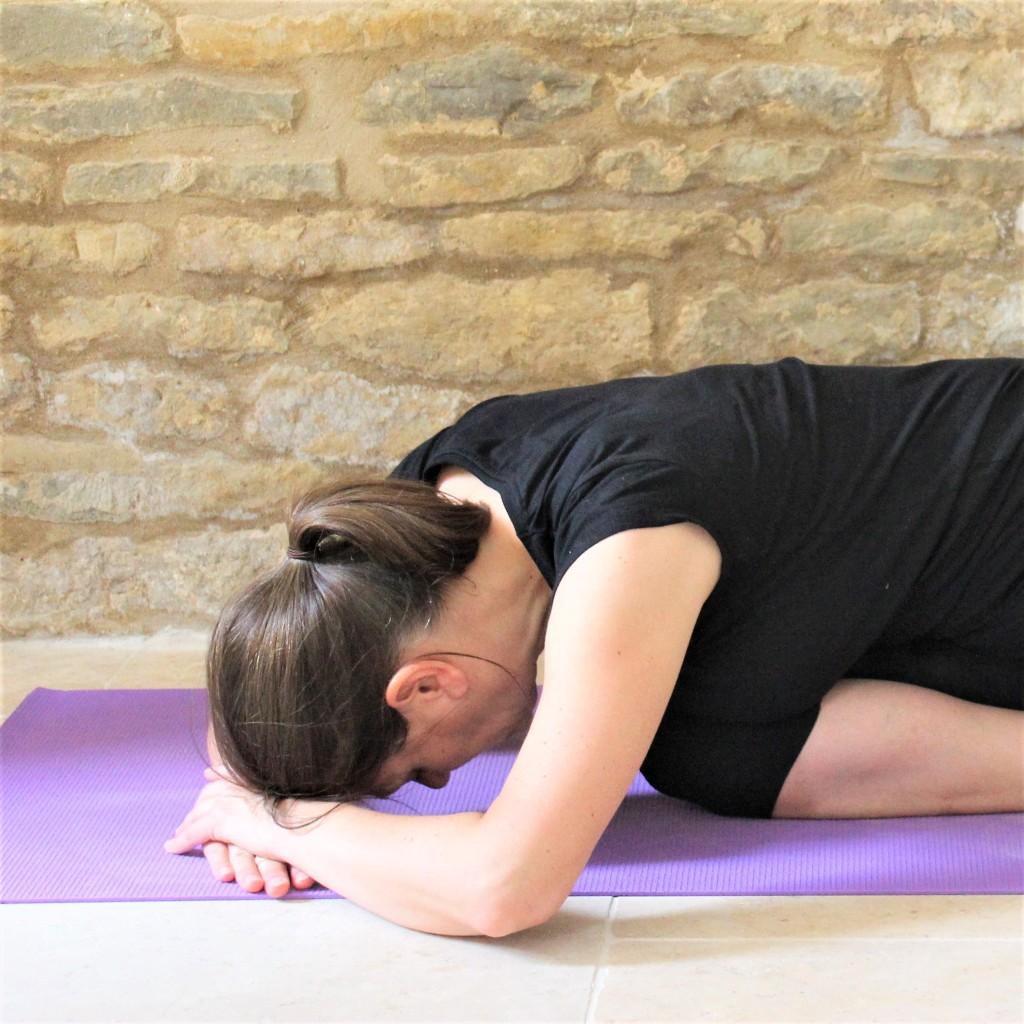Yoga Teacher Deborah King demonstrates Saithalyasana
