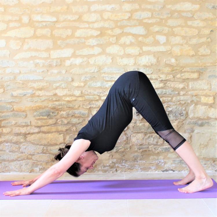 Yoga Teacher Deborah King demonstrates Downward Dog pose